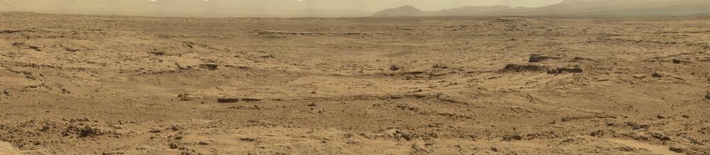 """Imagen panorámica tomada en Marte por el robot Curiosity en el sitio llamado """"Rocknest"""". Cortesía de NASA/JPL-Caltech/Malin Space Science Systems."""