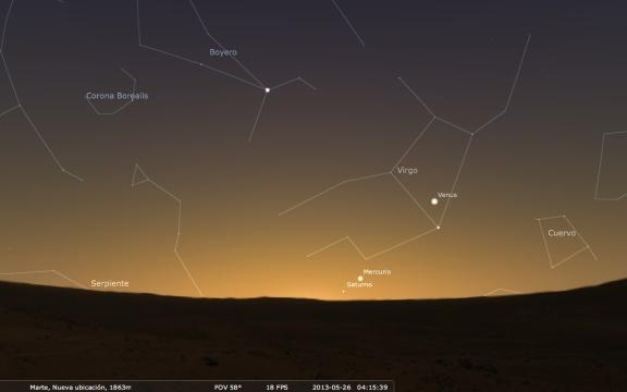 Vista de una conjunción planetaria entre Venus, Mercurio y Saturno vista desde Marte el día 26 de Mayo antes del amanecer.