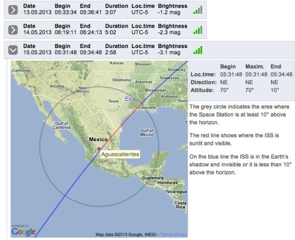 Trayectoria de la Estación Espacial Internacional sobre Mexico predicha para el 15 de Mayo. Instantánea de http://iss.astroviewer.net/observation.php