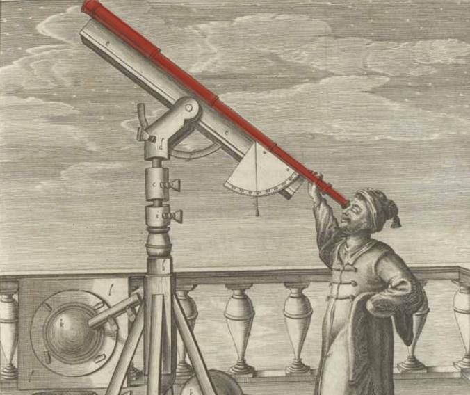 Dibujo de Johannes Hevelius con un telescopio  (Selenographia: sive, lunea descriptio, 1647).
