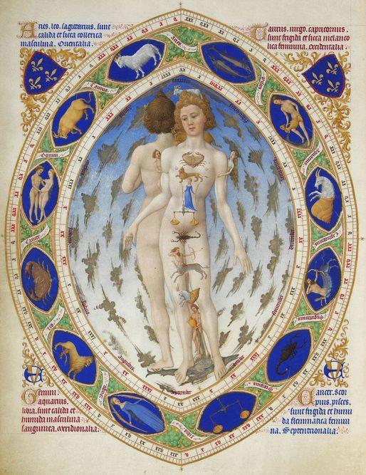 L'Homme anatomique ou L'Homme zodiacal. Très Riches Heures du duc de Berry (Wikimedia Commons).