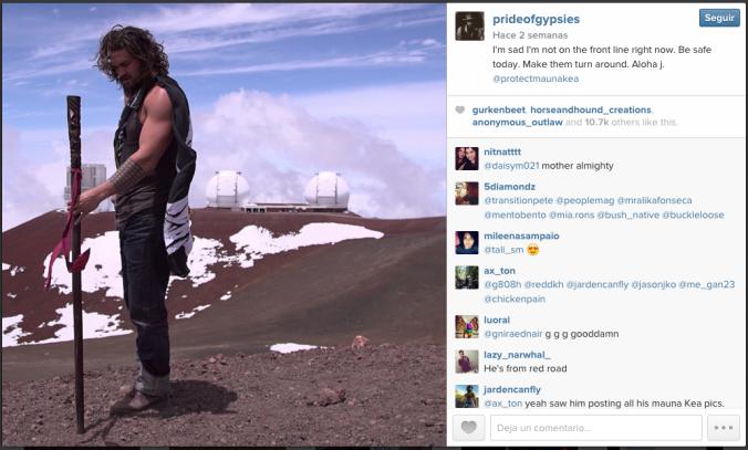 El actor Jason Momoa publica en su cuenta de instagram: