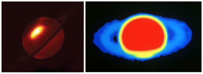 Saturno visto en distintas longitudes de onda: a la derecha, imagen infrarroja donde se puede ver una tormenta. A la izquierda, imagen en radio. Créditos:  Leigh N. Fletcher, Universidad de Oxford, UK, ESO y NRAO/AUI .